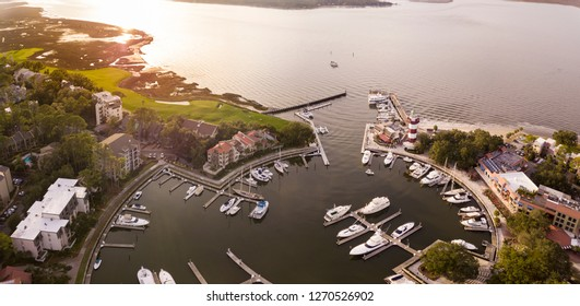 Aerial view of Harbour Town, Hilton Head, South Carolina, lighthouse and marina.