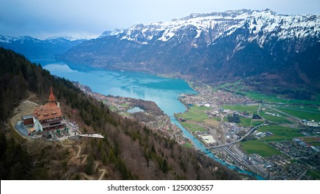 Aerial view of Harder kulm , top of interlaken , viewpoint at 1,321 metres in the Berner Oberland region of Switzerland, overlooking the towns of Interlaken , Unterseen and Lake thun