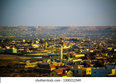 Aerial view to Hargeisa, biggest city of Somaliland in Somalia