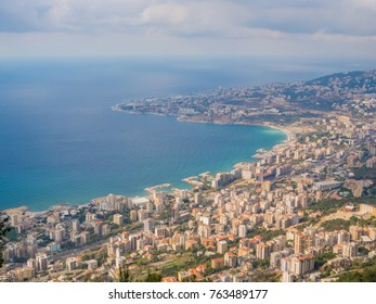 Aerial view of Harissa, Lebanon