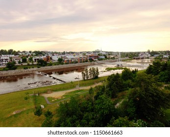 Aerial view of harnessed river flowing through town, Alma, Quebec, Canada