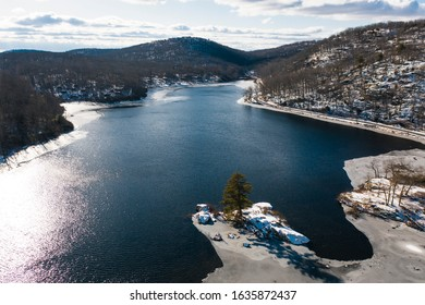 Aerial view of Harriman State Park in winter - New York - USA