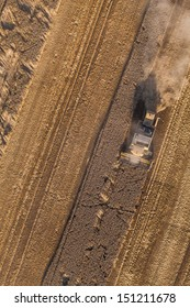 aerial view of harvest fields