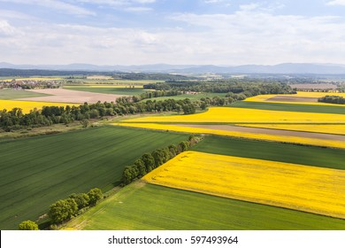 aerial view of the harvest fields in Poland