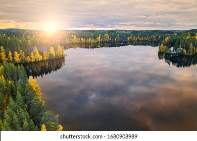 Aerial view of Harvinjarvi lake in Finland. Finnish nature. Beautiful gold autumn.