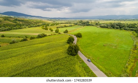 Aerial view of Hateg valley in Romania.