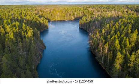 Aerial view of Haukkalampi pond, Nuuksio National Park, Espoo, Finland