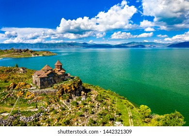 Aerial view of Hayravank monastery on the shores of lake Sevan in Armenia