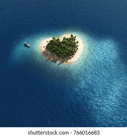 aerial view of heart shape tropical island, 3d illustration