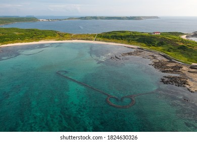 Aerial view of Heart-Shaped fish traps on the coast of Penghu Island, Taiwan