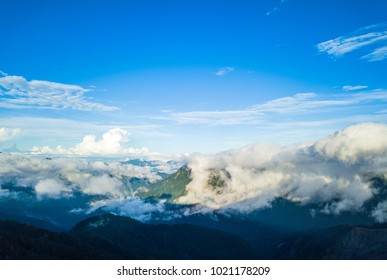 Aerial view Hehuanshan mountain. Beautiful clouds and sky in the mountain at altitude of 3,700 meters in Taiwan.
