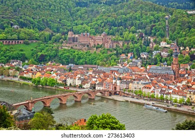 Aerial view of Heidelberg old town and Neckar river, Baden-Wurttemberg state, Germany