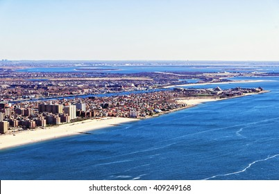 Aerial view from helicopter of Long Island in New York, USA. It is the westernmost residential and commercial neighborhood of the New York City borough of Queens