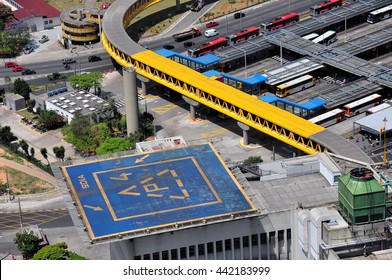 Aerial View of heliport and Dom Pedro II Bus Station, Sao Paulo, Brazil