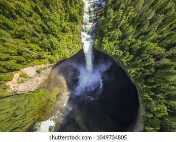 Aerial view of Helmcken Falls in Alberta, Canada.