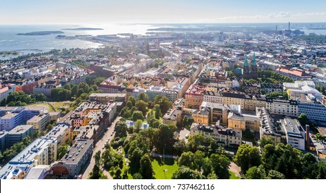 Aerial view of Helsinki, capital of Finland, drone photo