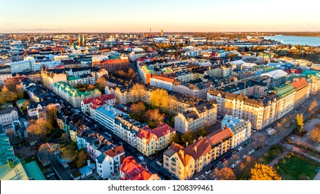 Aerial view of Helsinki city. Sky and colorful buildings.
