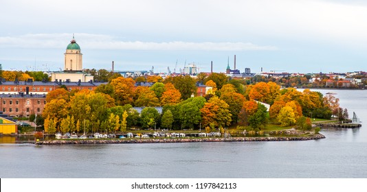 Aerial view Helsinki fortress Suomenlinna *Autumn colors)  at the coast of Baltic sea in Helsinki, Finland.