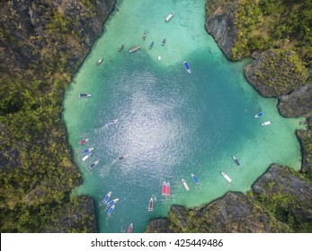 Aerial view of hidden lagoon in tropical island, with heart shape. Phi Leh Lagoon, Phi Phi Leh Island, Phi Phi Islands, Phuket, Thailand