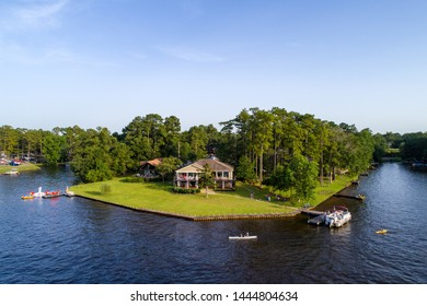 Aerial view of Hide-A-Way Lake, Mississippi on the 4th of July, 2019.
