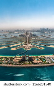 Aerial view high above The Palm Island, Dubai. Travel holiday inspiration.
