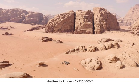 Aerial view of high cliffs and coombs in Wadi Rum, close to the Mushroom formation zone, in Jordan.