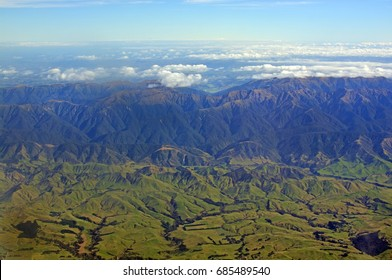 Aerial View of High Country Hawkes Bay farm land and Ruahine Ranges with Taihape and Manawatu in the background.