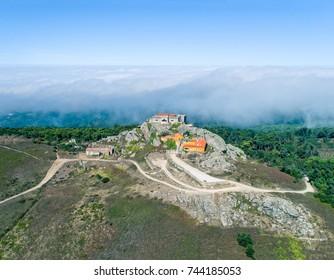 Aerial View High Fog Near Santuario da Peninha, Sintra Portugal