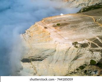 Aerial View High Fog on the Precipice Temple Church, Nossa Senhora do Cabo Sesimbra Portugal