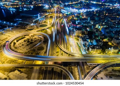 Aerial view of high speed road in the of Athens city, Greece