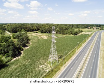 Aerial view of High voltage post or High voltage tower