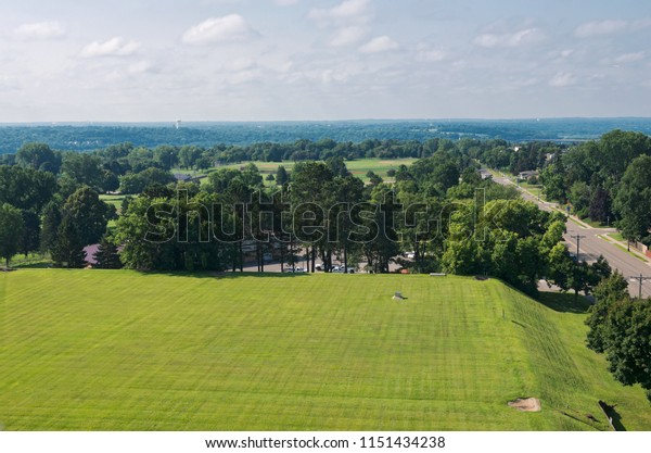 aerial view of highland park along snelling avenue and saint paul in distance ramsey county minnesota