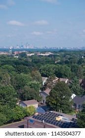 aerial view from highland park to minneapolis skyline with solar panels on rooftop