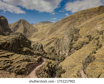 Aerial view of high-mountain landscape in Andes, Peru