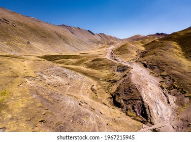 Aerial view of high-mountain path in Andes, South America