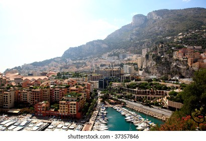 aerial view of the high-rise apartment complex and marina in Monaco