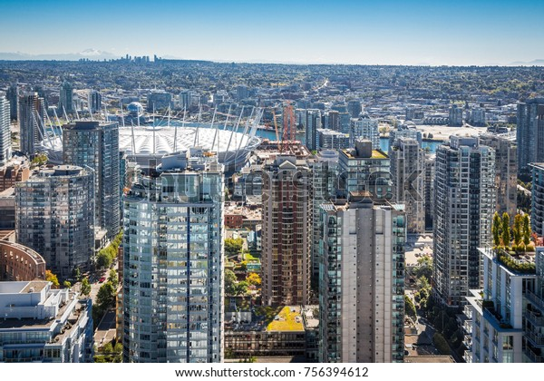 Aerial view. highrises from drone. Vancouver