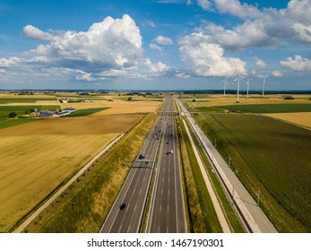 Aerial view of Highway A8 on the swabian alp between Ulm and Merklingen with construction works of the Stuttgart21 railway project