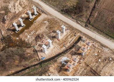 Aerial view of highway bridge under construction in Poland
