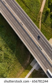 aerial view of the highway and cars in Poland
