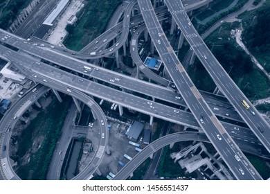 Aerial view of highway interchange