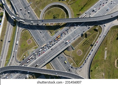 Aerial view of highway interchange of a city