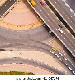 Aerial view of highway interchange of a city,  Top view over the road and highway