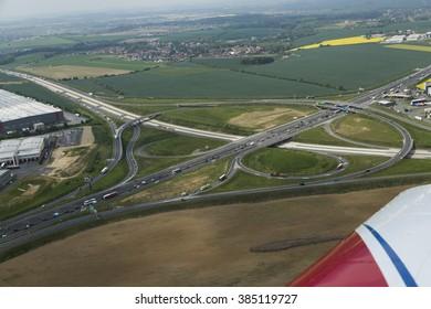 Aerial view of highway interchange in Czech Republic close Prague