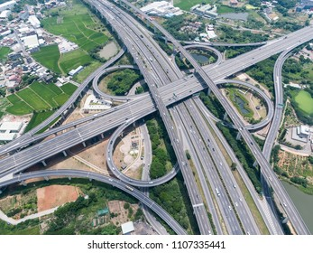 Aerial View of Highway Interchange - Transport concept image, birds eye view use the drone in Pingzhen Interchange System, Taoyuan, Taiwan.