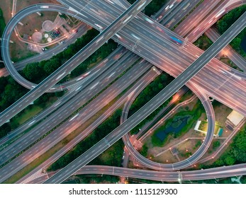 Aerial View of Highway Interchange - Transport concept image, birds eye view use the drone, shot in Pingzhen Interchange System, Taoyuan, Taiwan.