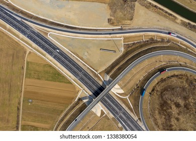 Aerial view of highway intersection, drone shot