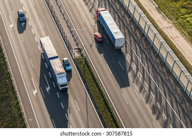 aerial view of the highway near Wroclaw city  in Poland