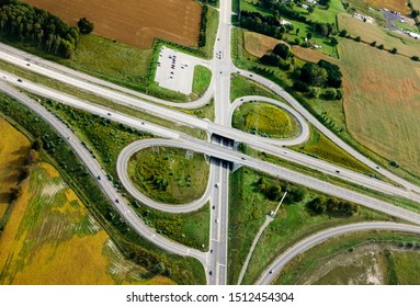 Aerial view of Highway Overpass amidst agricultural field, Canada