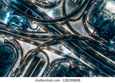 Aerial view highway road junctions at night  in Moscow